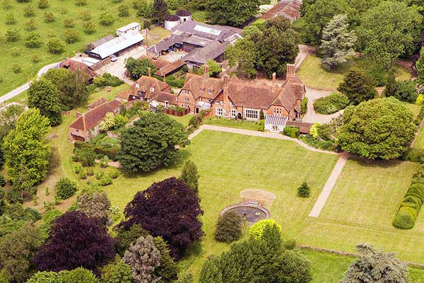 aerial photograph of manor house