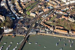 aerial photo of Folkestone Harbour showing the Fish Market area, the Royal George pub and fountains