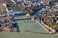 aerial photo of Folkestone Harbour showing the Grand Burstin Hotel