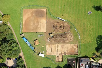 aerial photo of archaeological dig