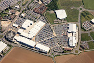 aerial photograph of Westwood Cross shopping centre near Ramsgate, Kent